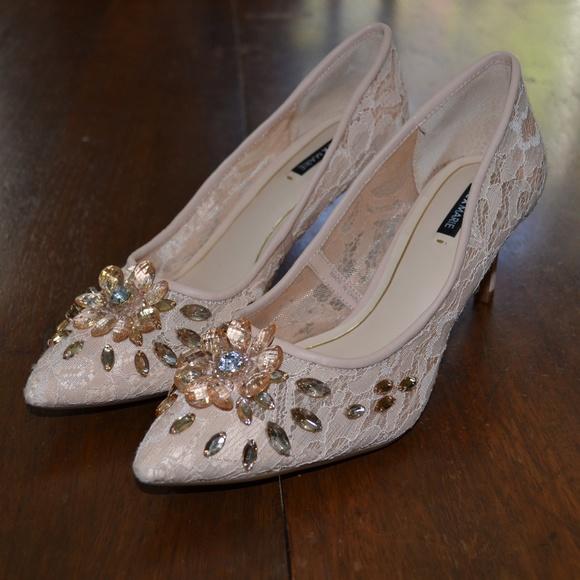 Alex Marie Shoes - Alex Marie Champagne Lace Gemstone High Heels 7M
